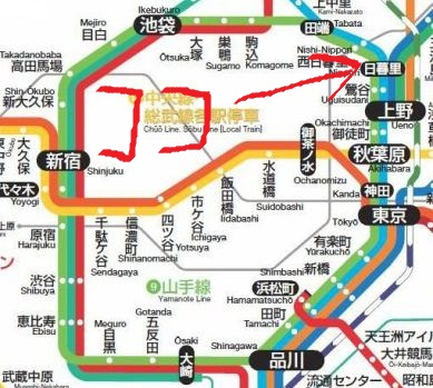 JR山手線の路線図