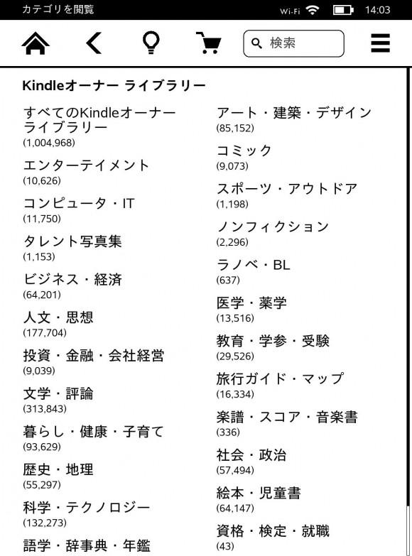Kindleオーナーライブラリー対象本100万冊以上