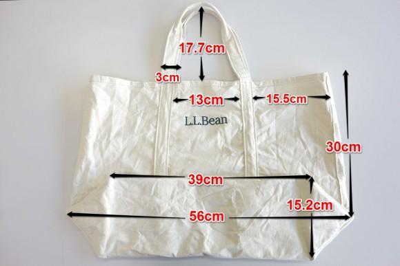 L.L.Beanのグローサリートートバッグのサイズ(洗濯後)