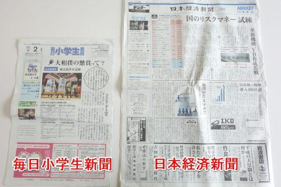 毎日小学生新聞は普通の新聞の半分サイズ