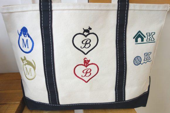 L.L.Beanのトートバッグ_カスタム刺繍モノグラム
