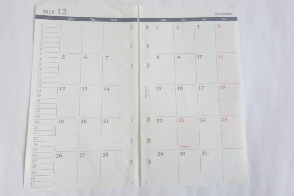 システム手帳リフィル_月間カレンダーが間に挟まるタイプ