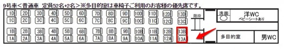 スーパービュー踊り子号9号車13Aと13Bのスペース